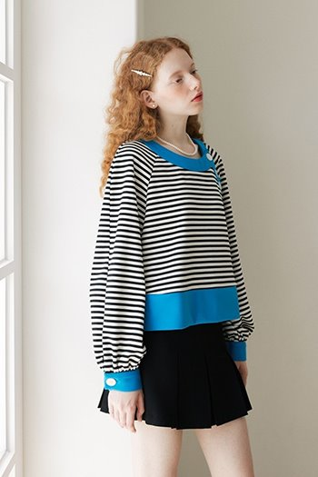 STRIPE BUTTON BLOUSE - BLACK