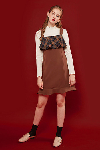 FRILL BUSTIER DRESS - BROWN