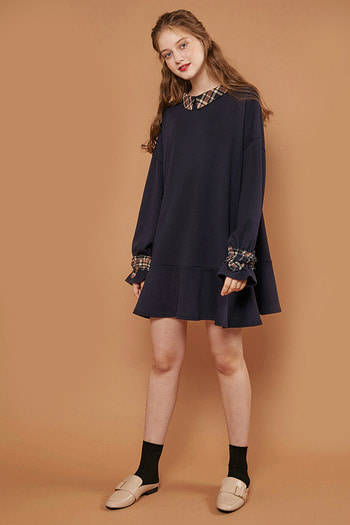 CHECK FRILL MTM DRESS - NAVY