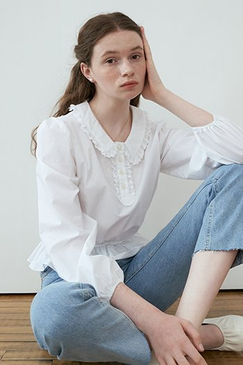 COTTON COLLAR BLOUSE - WHITE