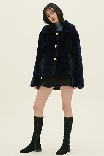 BUTTON ECO FUR JACKET - NAVY