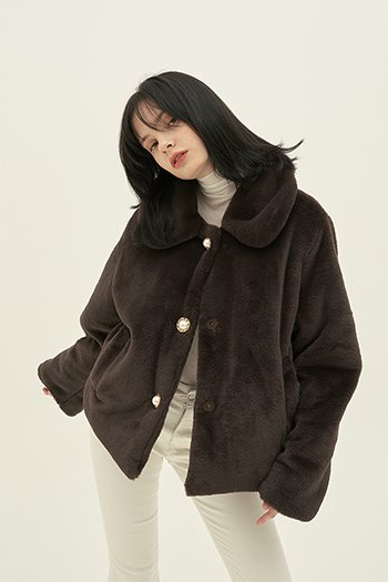 BUTTON ECO FUR JACKET - BROWN