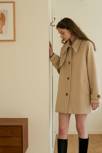 WOOL TRENCH COAT - OATMEAL
