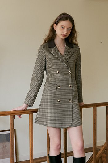 DOUBLE BUTTON JACKET DRESS - CHECK