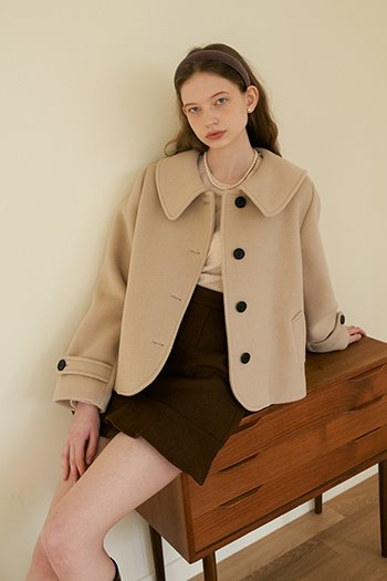 WOOL SHORT COAT - LIGHT BEIGE