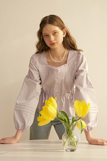 SQUARE COTTON LACE BLOUSE - VIOLET