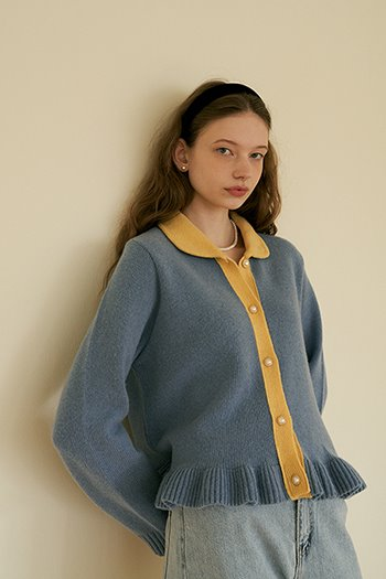 LAMBSWOOL FRILL CARDIGAN - SKYBLUE