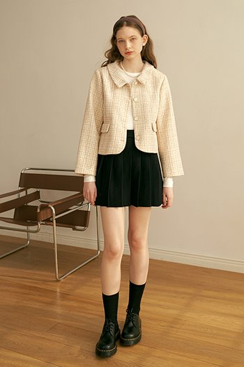 POCKET TWEED JACKET - BEIGE