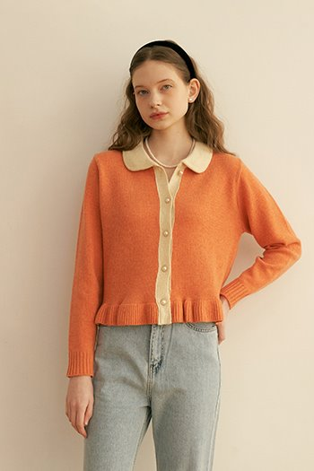 LAMBSWOOL FRILL CARDIGAN - PEACH