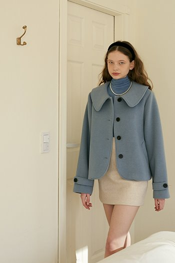 WOOL SHORT COAT - SKYBLUE