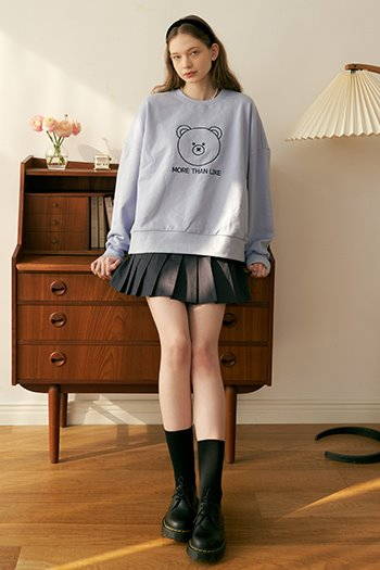 BEAR LOGO SWEAT SHIRT - SKYBLUE
