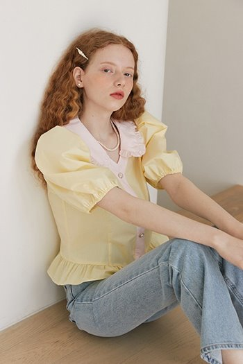 FRILL COLLAR PUFF BLOUSE - YELLOW