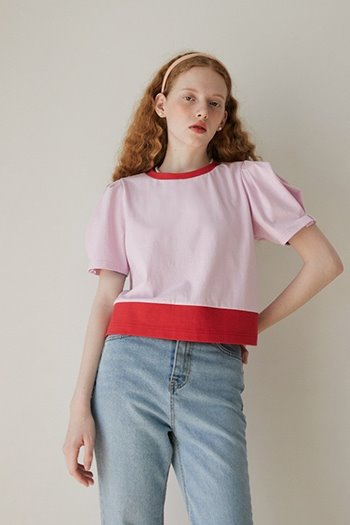 PUFF SHORT SLEEVE T-SHIRT - PINK
