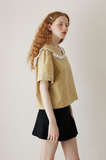 SAILOR FRILL BLOUSE - LIGHT GREEN