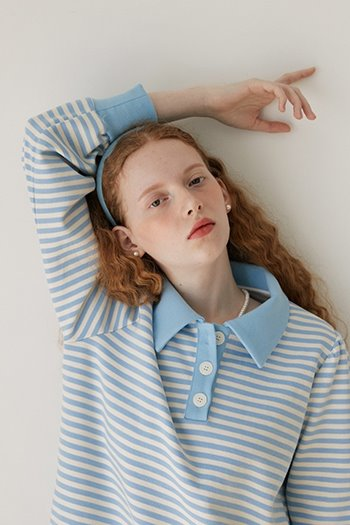 STRIPE COLLAR T-SHIRT - SKYBLUE