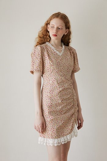 FLOWER SHIRRING DRESS - BEIGE