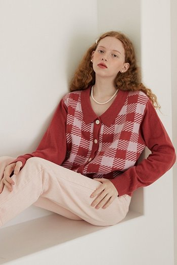 WOOL CHECK COLLAR CARDIGAN - PINK