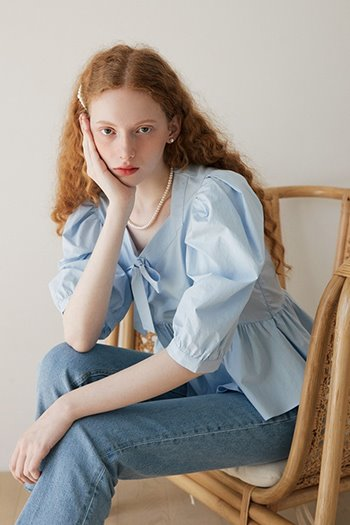 PUFF RIBBON BLOUSE - SKYBLUE