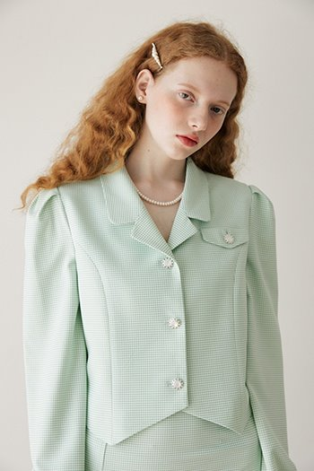 COLLAR PUFF CROP BLOUSE - MINT
