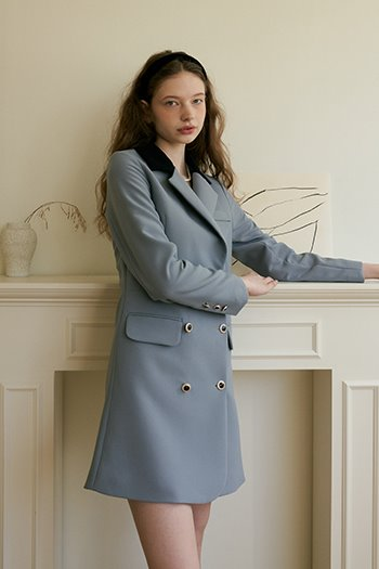 DOUBLE BUTTON JACKET DRESS - SKYBLUE