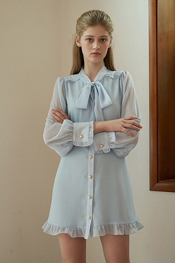 FRILL BUTTON RIBBON DRESS - SKYBLUE