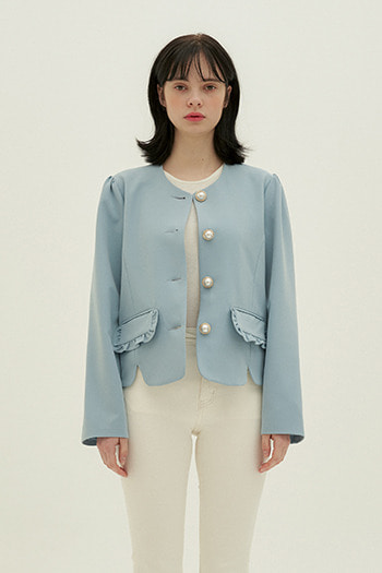 FRILL POCKET JACKET - SKYBLUE