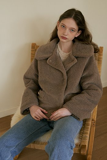 POCKET ECO SHEARING COAT - BROWN
