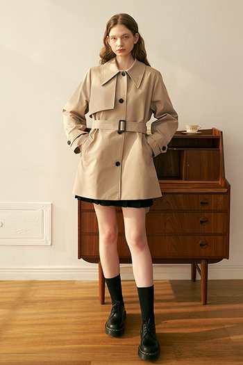 HALF SINGLE TRENCH COAT - BEIGE