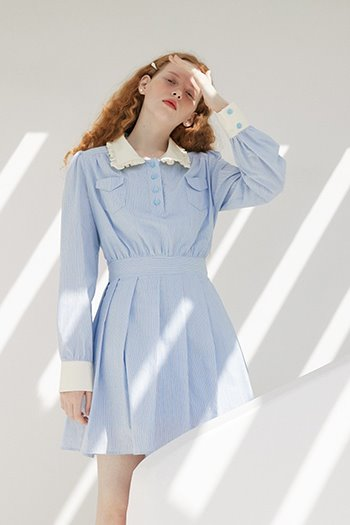 STRIPE SHIRT DRESS - SKYBLUE