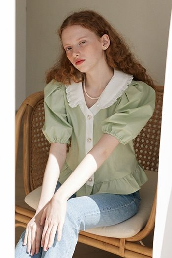 FRILL COLLAR PUFF BLOUSE - MINT