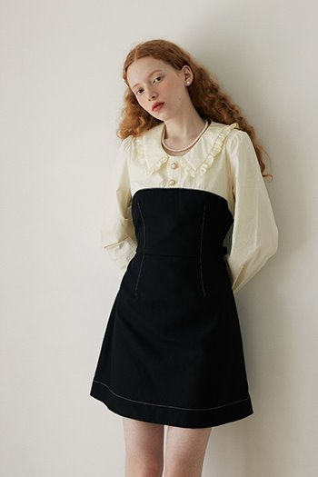 STITCH COLLAR DRESS - BLACK