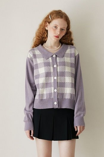 WOOL CHECK COLLAR CARDIGAN - VIOLET