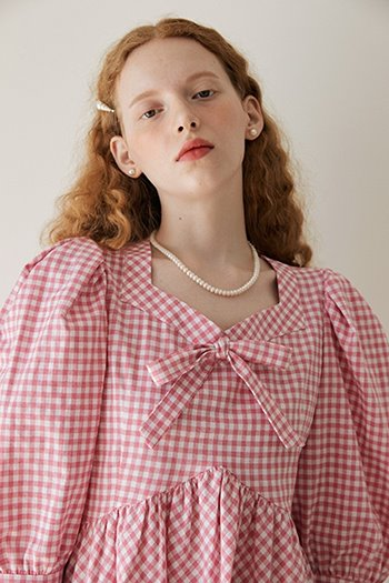 PUFF RIBBON BLOUSE - PINK